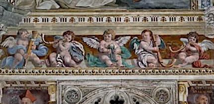 "Daniele Crespi. ""I beati cardinale Albergati e Gerardo da Nevers"". Fresque du Choeur, détail. Certosa di Pavia, Italie."