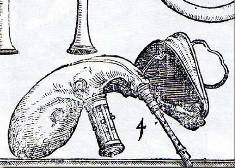 Dessin de musette française à soufflet, Sackpfeiff mit dem Blasbalg. Michael Praetorius (1571- 1621), Syntagma Musicum (De organographia), 1619.