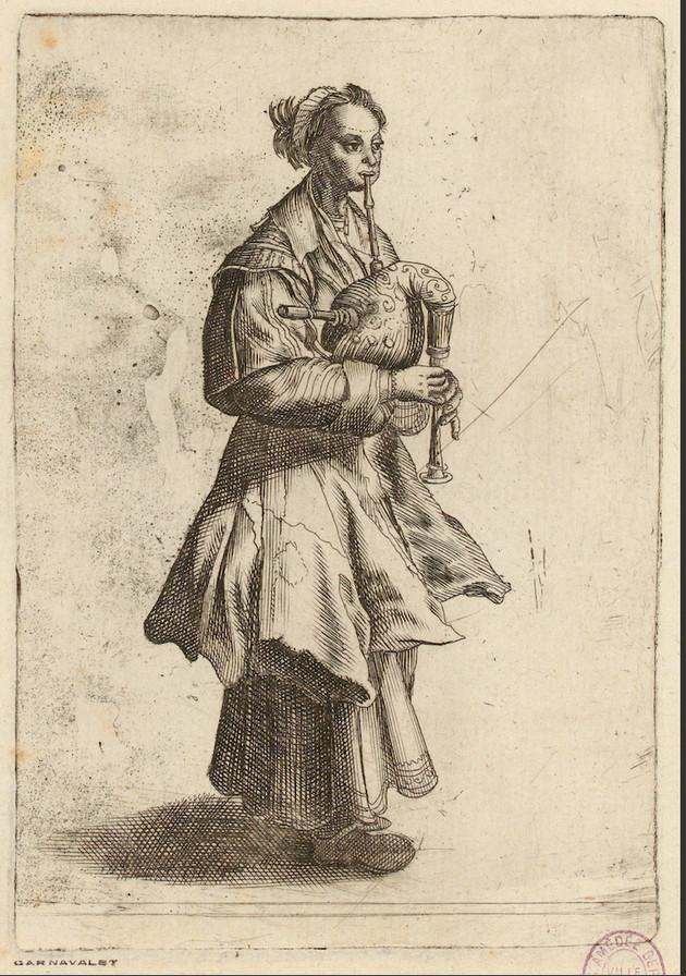 """""""Margot la Musette"""", gravure de Pierre Brebiette vers 1630. Musée Carnavalet, Paris."""