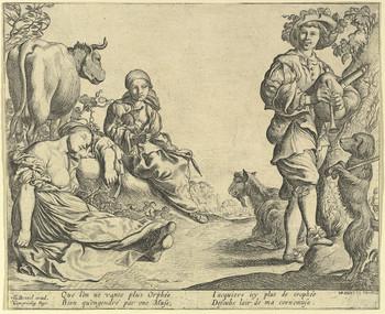 """""""Joueur de Musette et son chien"""", gravé par Brebiette, Paris vers 1640. MET New-York."""
