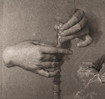 """""""Etude pour le portrait de Gaspard de Gueidan : mains jouant de la musette"""", par Hyacinthe Rigaud, 1735. Fine Arts Museums of San Francisco, California."""