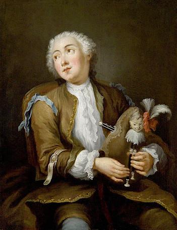 """""""Joueur de musette"""", par Sébastien Leclerc le jeune, vers 1720 (?), Vente Drouot 2009."""
