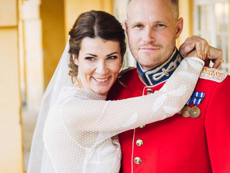 Smuk bryllupsfotografering på Frederiksberg slot i København