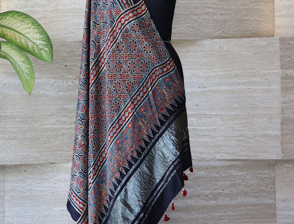 Black Handloom Hand Block Print Ajrakh Modal Silk Zari Border Dupatta