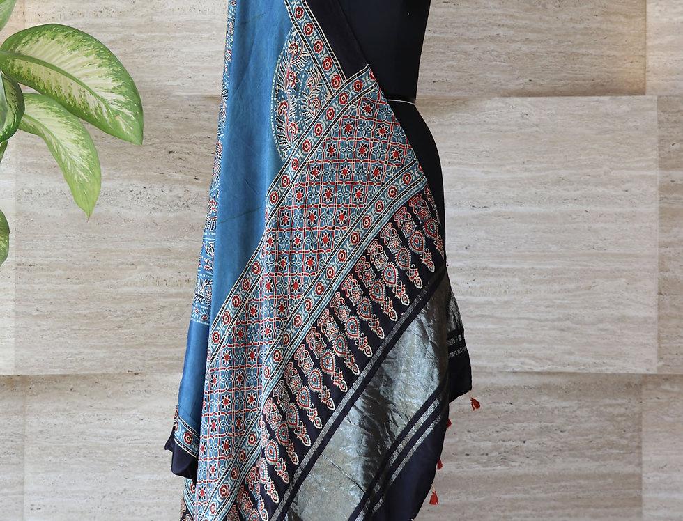 Denim Blue Handloom Hand Block Print Ajrakh Modal Silk Zari Border Dupatta