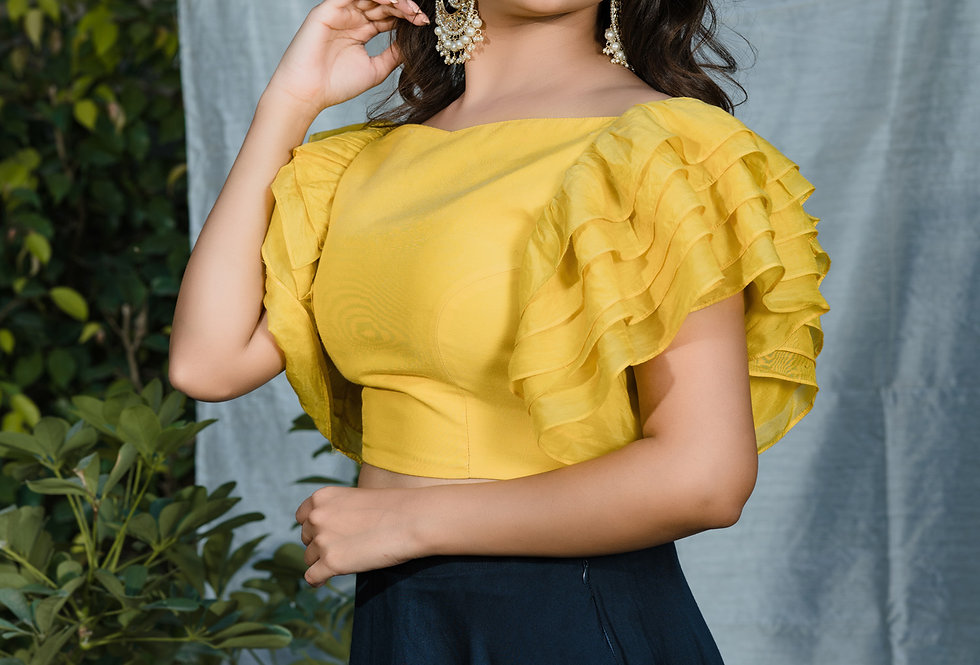 YELLOW MELLOW FRILL TOP WITH SKIRT