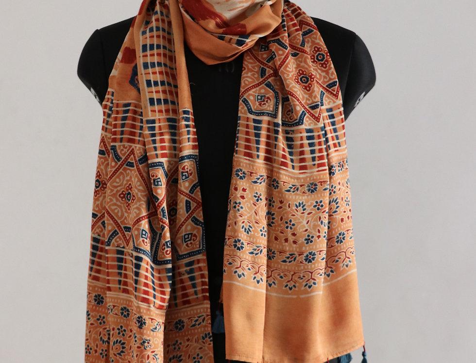 Peach Handloom Hand Block Print Ajrakh Modal Silk Scarf