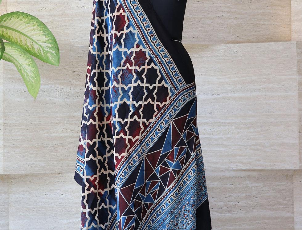 Indigo And Black Handloom Hand Block Print Ajrakh Modal Silk Dupatta