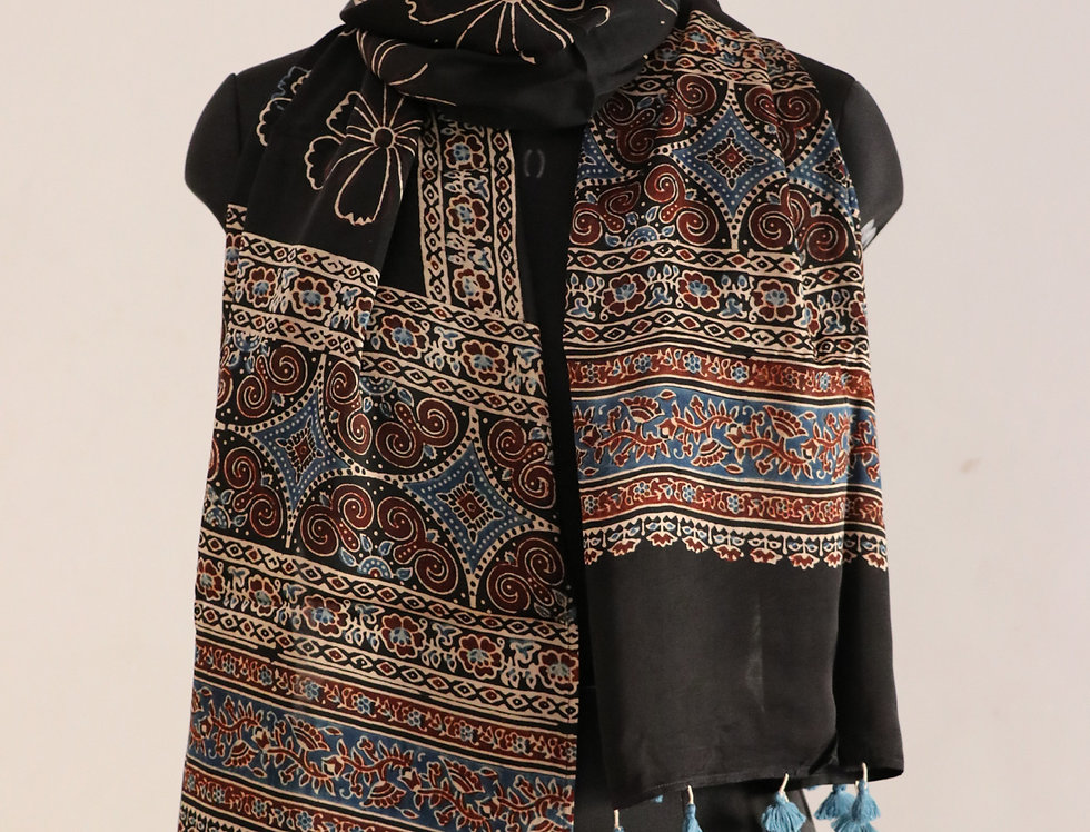 Black Handloom Hand Block Print Ajrakh Modal Silk Scarf
