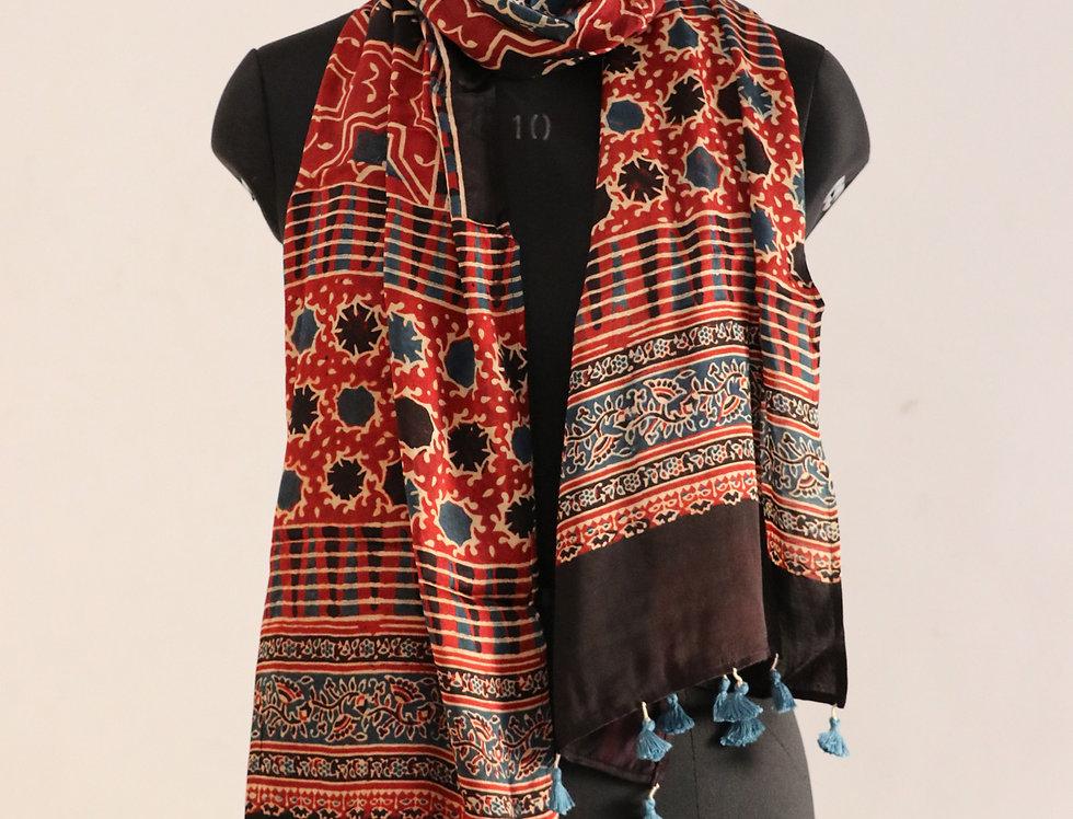 Maroon Handloom Hand Block Print Ajrakh Modal Silk Scarf