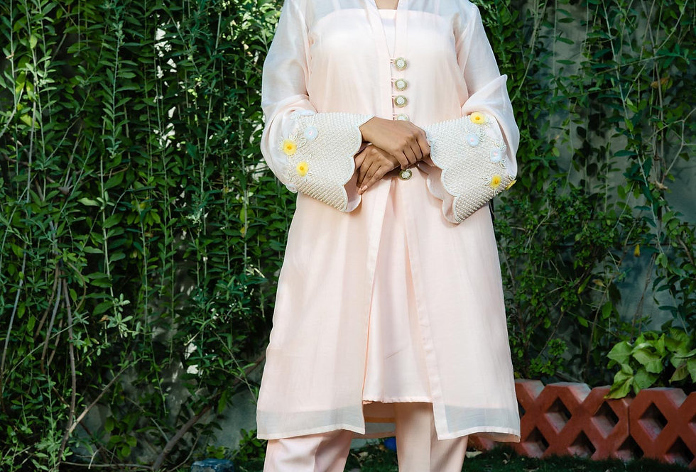 BLUSH CRUSH JACKET KURTA PANT SET