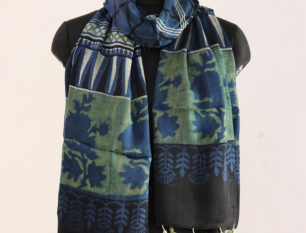 Indigo And Black Handloom Hand Block Print Ajrakh Modal Silk Scarf
