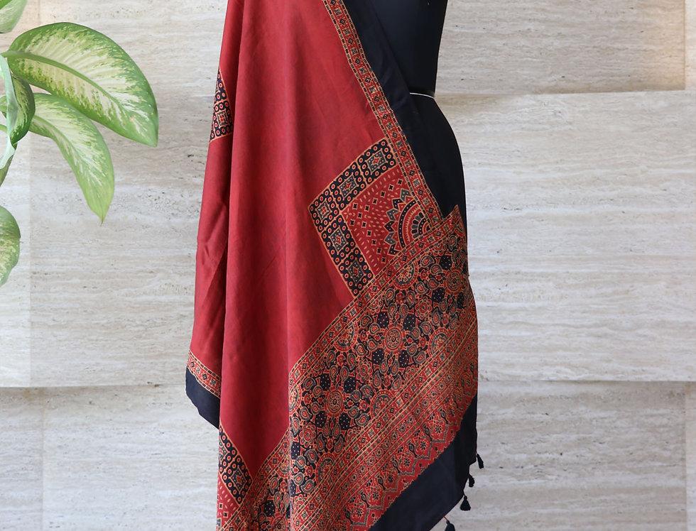 Maroon Handloom Hand Block Print Ajrakh Modal Silk Dupatta