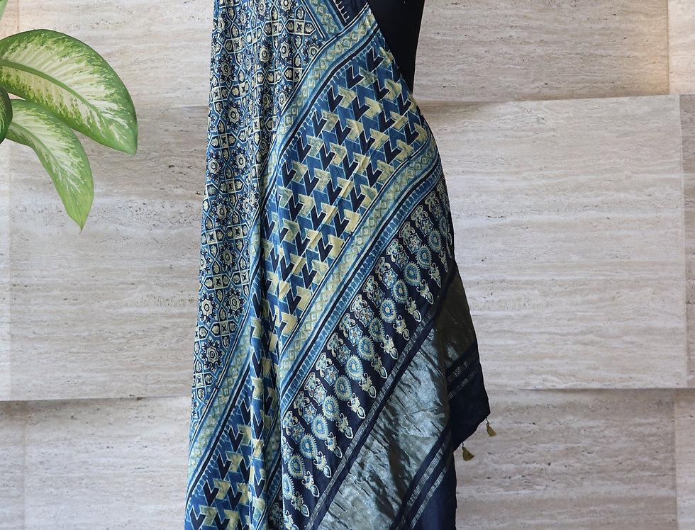 Navy Blue Handloom Hand Block Print Ajrakh Modal Silk Zari Border Dupatta
