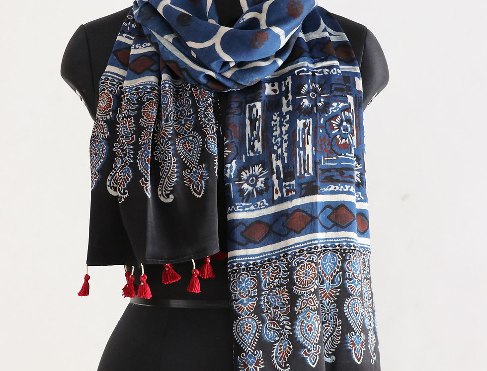 Navy Blue Handloom Hand Block Print Ajrakh Modal Silk Scarf