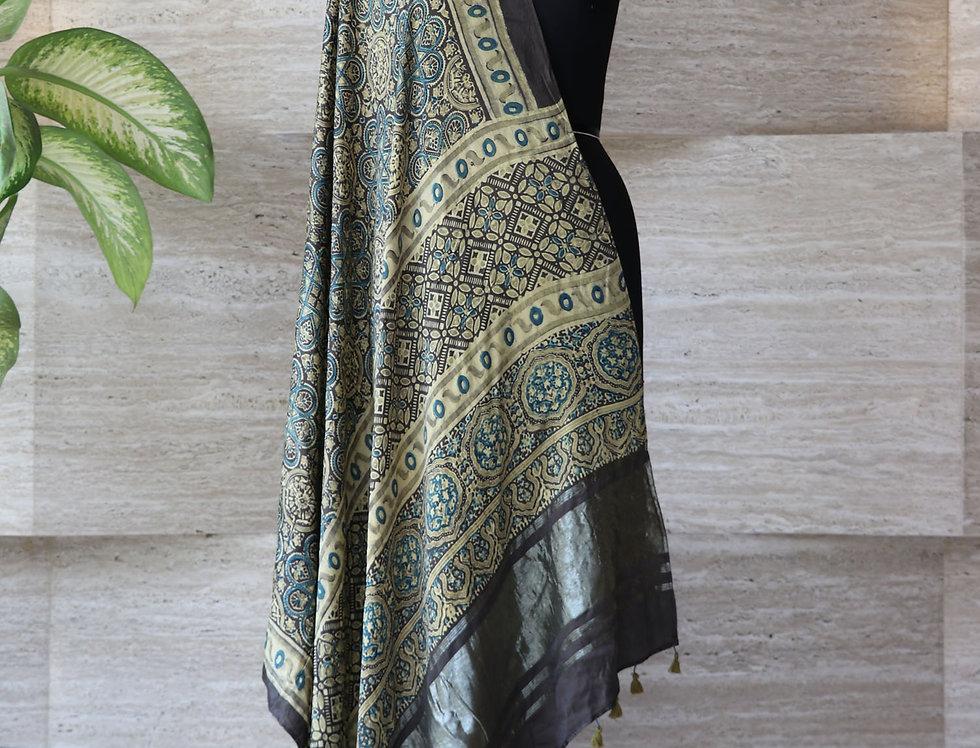 Grey Handloom Hand Block Print Ajrakh Modal Silk Zari Border Dupatta