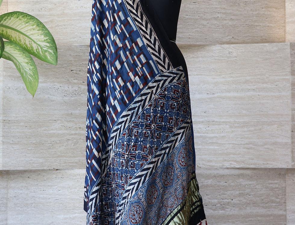 Navy Blue Handloom Hand Block Print Ajrakh Modal Silk Zari Dupatta