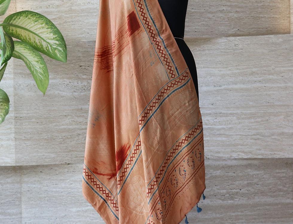 Peach Handloom Hand Block Print Ajrakh Modal Silk Dupatta
