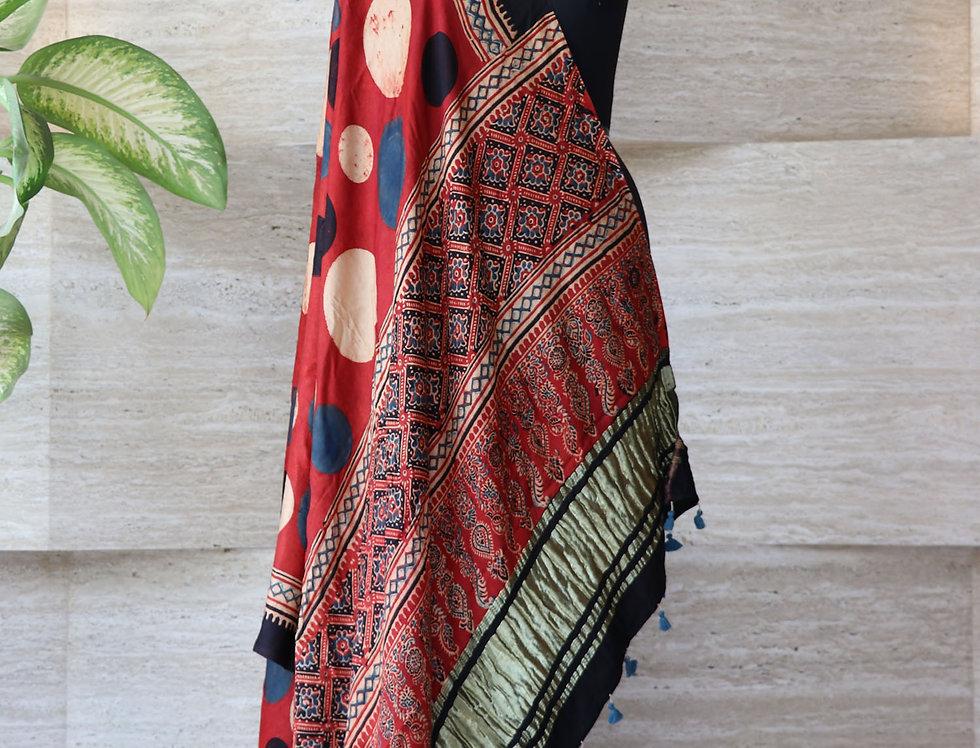 Maroon Handloom Hand Block Print Ajrakh Modal Silk Zari Border Dupatta