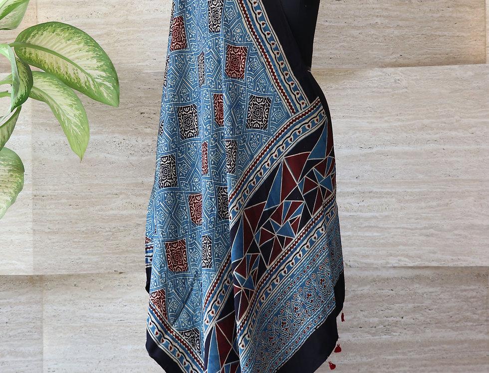 Indigo Blue Handloom Hand Block Print Ajrakh Modal Silk Dupatta