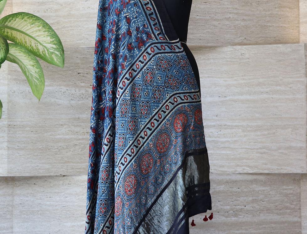 Indigo Blue Handloom Hand Block Print Ajrakh Modal Silk Zari Border Dupatta