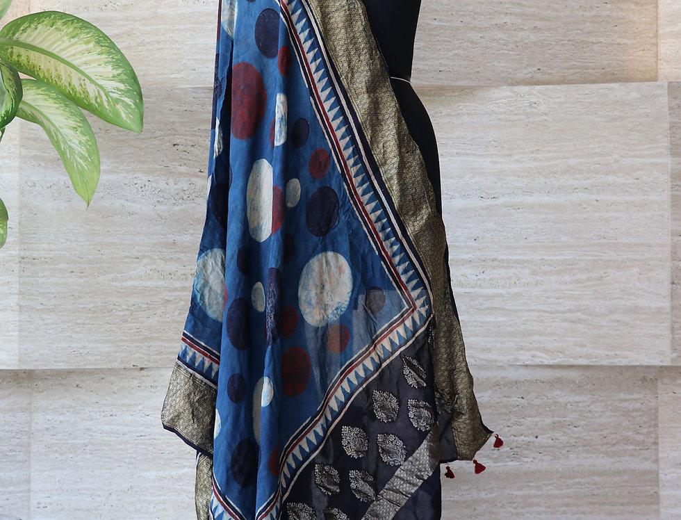 Indigo Blue Handloom Hand Block Print Ajrakh Dola Silk Zari Border Dupatta