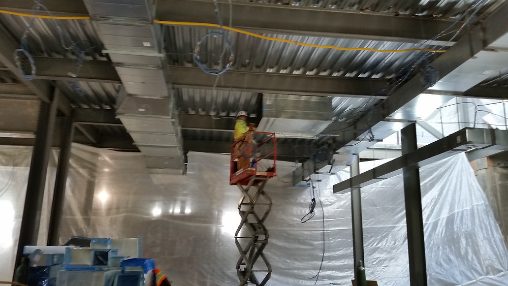 Duct fab and install at Lafayette Elementary