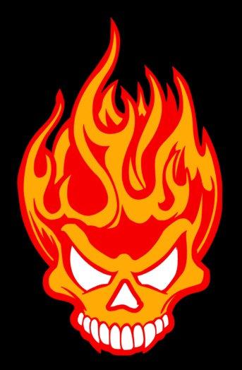 Mini Flaming Skull