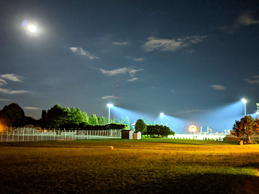 Image of a football stadium at night