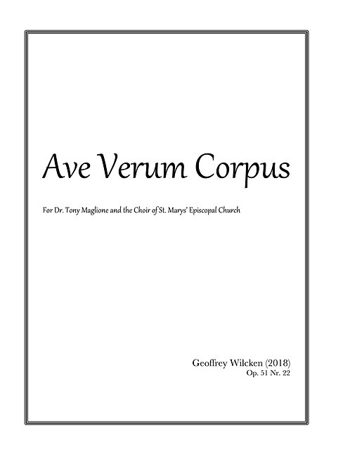 Ave Verum Corpus - Single Copy