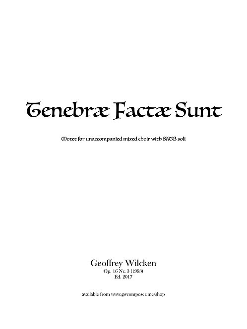 Tenebræ Factæ Sunt - Single Copy License
