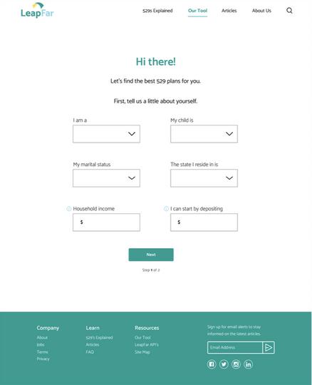 Calculator Tool Page - Step 1