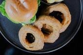 Caster's Beef Burger with Chips and Onion Rings