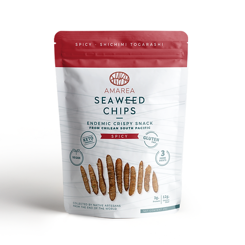 Amarea Seaweed Chips Spicy from Chilean South Pacific - 8 uni