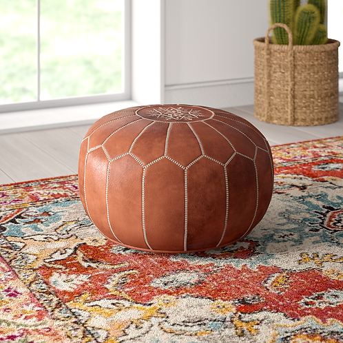 All Natural Leather Pouf