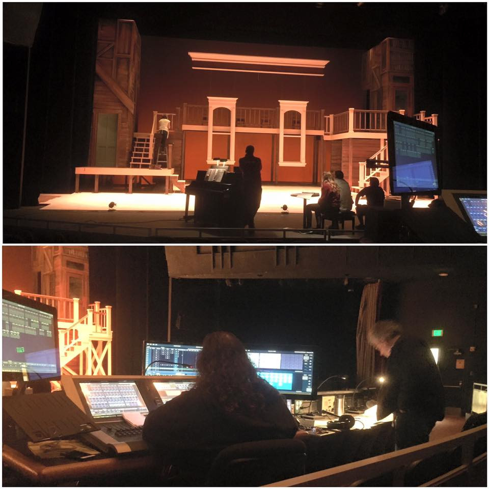 bottom frame: Steve and Sherri building Lighting cues