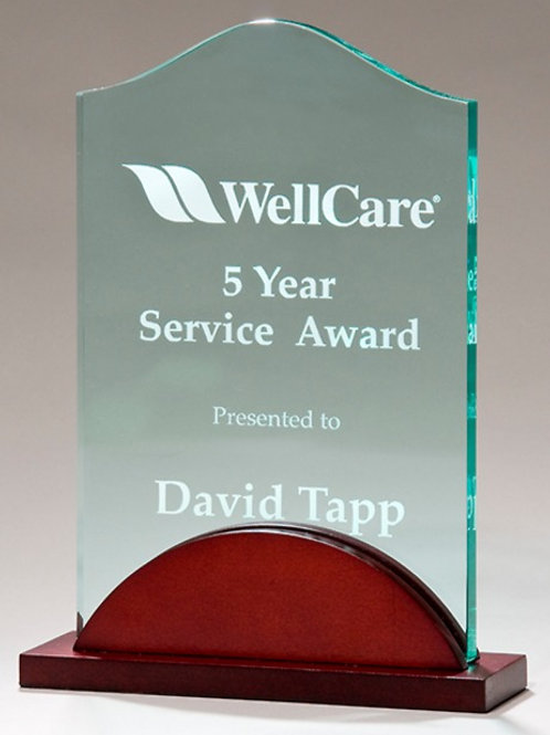 Tidal Series Acrylic Award with Wood Base