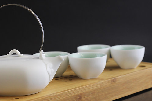 Celadon White Tea Pot Set