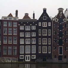 Swaying houses on the amstel river