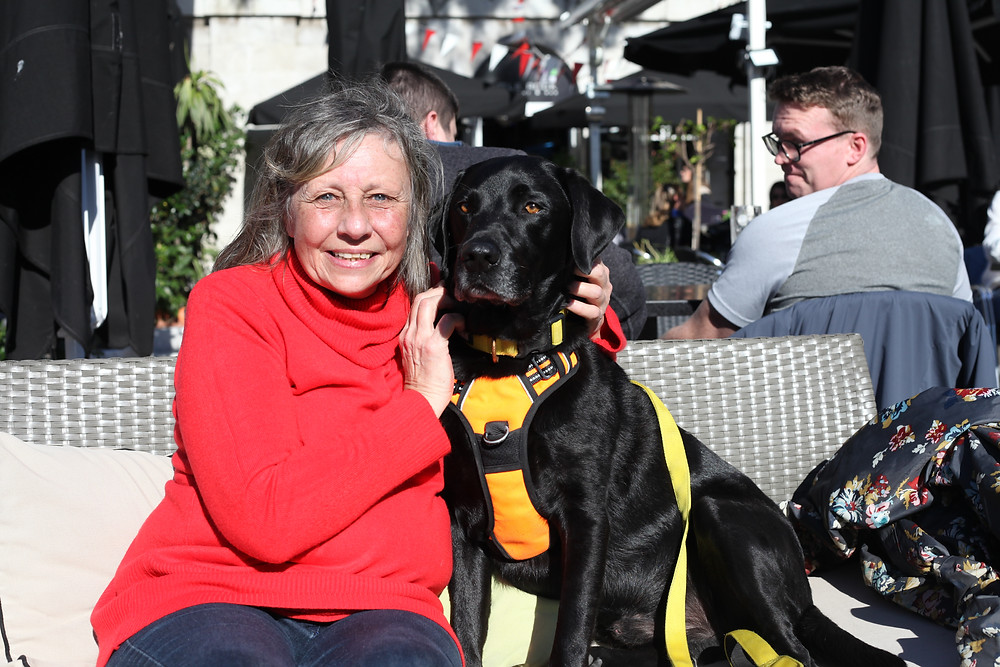 Julie Harris is a Pal of Percy the Labrador
