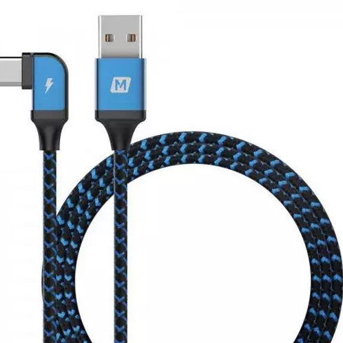 High quality braided USB-C to USB charging cable, curved into an L-shape