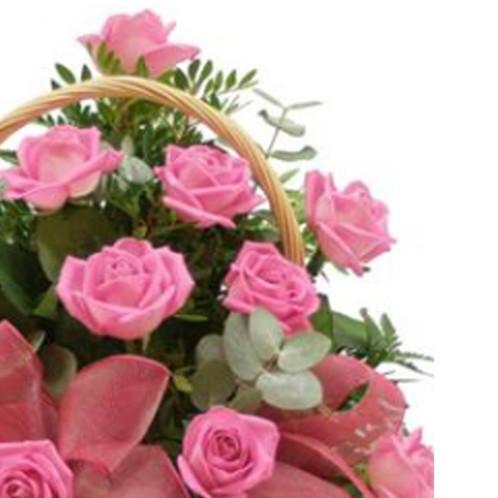 Cesta 20 Rosas Rosadas