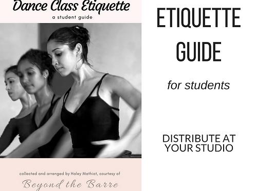 """Student Guide- """"Dance Class Etiquette"""""""