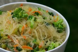 Rice Noodles with Mixed Greens