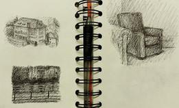 Sketchbook, Dinant, pen