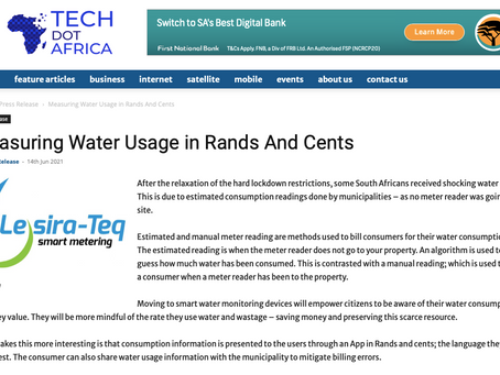 Article By Tech Africa: Measuring Water Usage in Rands and Cents!