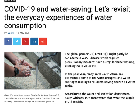 COVID-19 & Water Saving: Article by TechDotAfrica