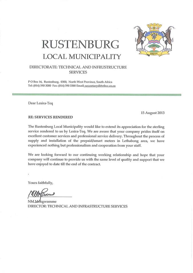 Rustenburg Local Municipality_Testimony