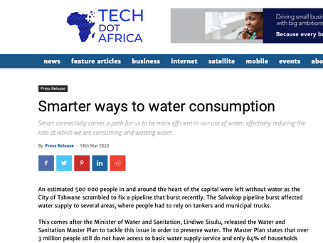 Article published by Tech.Africa: Smarter Ways to Water Consumption