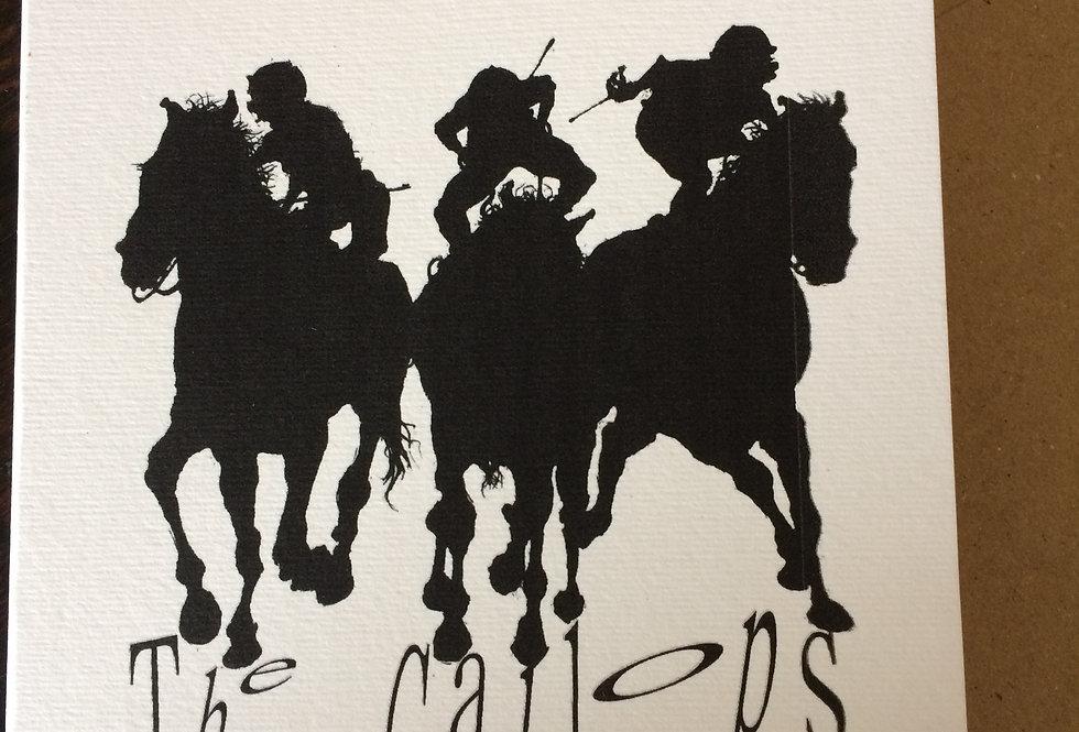Jockeys on horseback - pen and ink design by Robert Askew